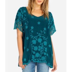 Johnny Was NENETI Top Embroidered Blouse